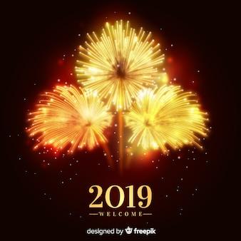 Anno nuovo banner 2019 con fuochi d'artificio
