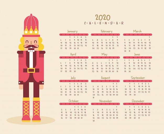 Anno nuovo calendario con schiaccianoci.