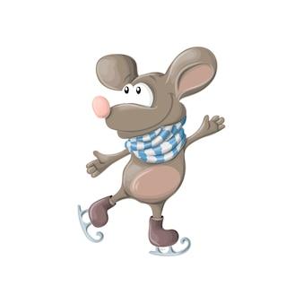 Anno nuovo, divertente mouse felice o pattini del ratto