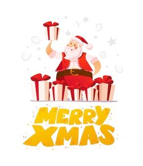 Anno nuovo e buon natale concetto. stile cartone animato. ritratto e regali del personaggio di babbo natale su priorità bassa bianca. buono per pubblicità di congratulazioni natalizie, carta,.