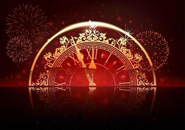 Anno nuovo sfondo con quadrante di orologio e fuochi d'artificio