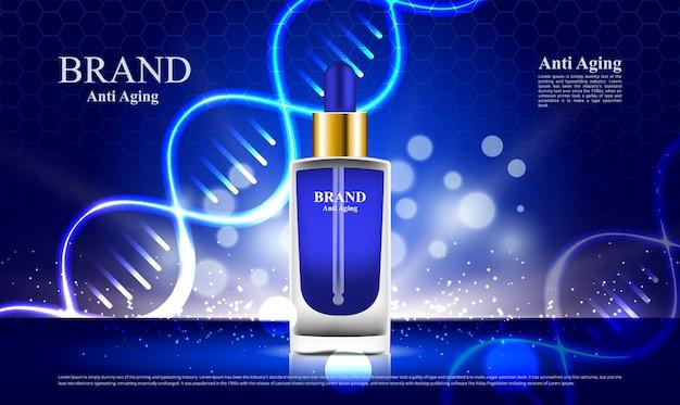 Annunci anti invecchiamento cosmetici con sfondo blu dna