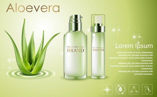Annunci cosmetici di aloe vera, flaconi spray verdi con aloe vera