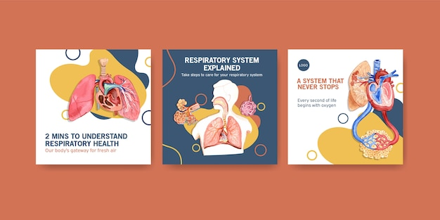 Annunci di design di modelli con anatomia umana del polmone e delle vie respiratorie