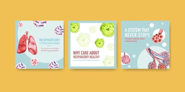 Annunci di design di modelli con anatomia umana del polmone e respiratorio, ossigeno