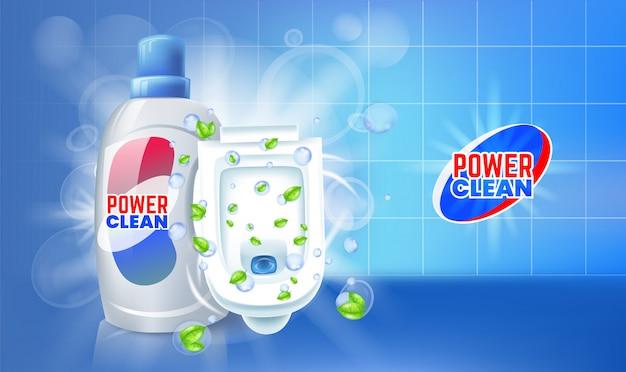 Annunci di gel detergente per wc. illustrazione con vista dall'alto della toilette.