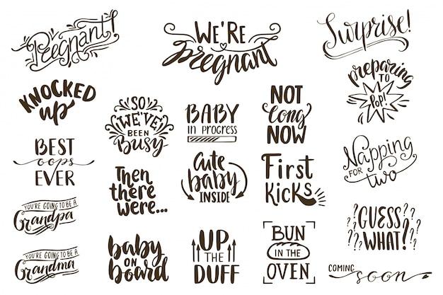 Annunci di gravidanza lettering collezione