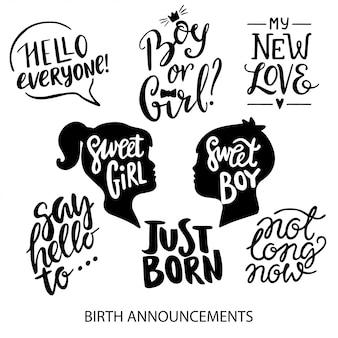 Annunci di nascita lettering collezione