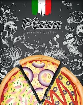 Annunci di pizza italiana o menu con illustrazione ricca di condimenti su doodle di gesso stile inciso.
