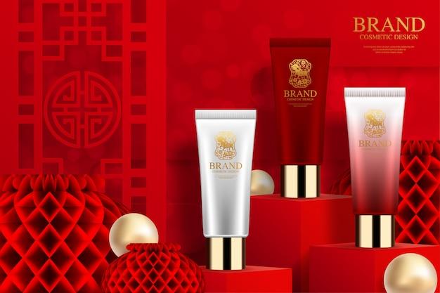 Annunci di tubo di plastica cosmetica su podio quadrato e carta cinese elementi cinesi sullo sfondo.