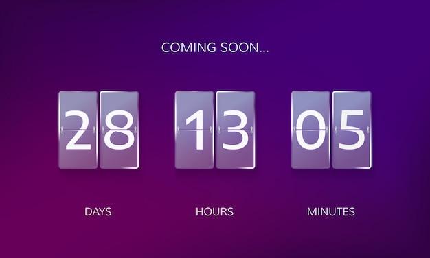 Annuncia il design del conto alla rovescia. conta giorni, ore e minuti per l'evento presto in caming