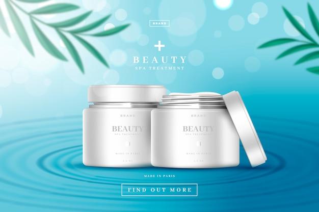 Annuncio cosmetico per prodotti di bellezza diurni e notturni