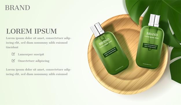 Annuncio cosmetico. siero con foglie verdi su sfondo verde chiaro