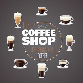 Annuncio della caffetteria con tazze e diverse bevande calde