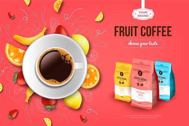 Annuncio di bevande al caffè alla frutta