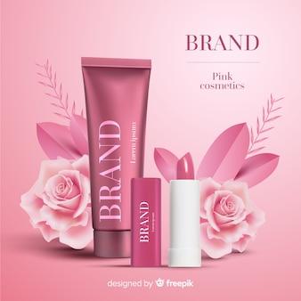 Annuncio di cosmetici rosa
