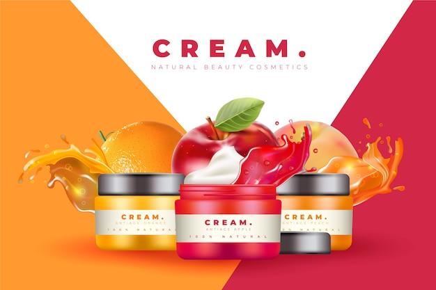 Annuncio di crema cosmetica colorata