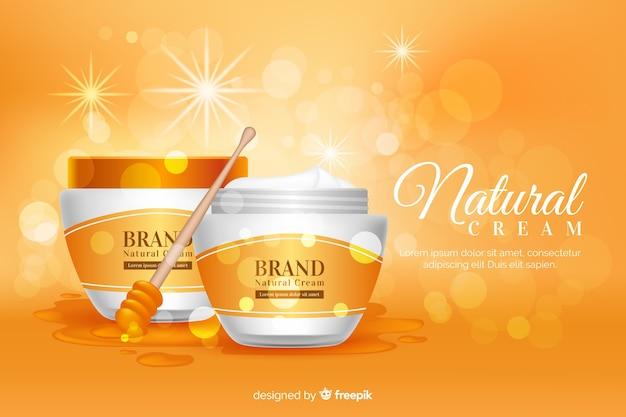Annuncio di crema naturale in stile realistico