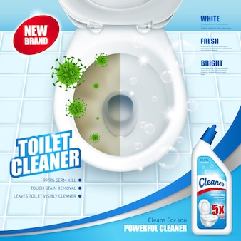 Annuncio di detergente per wc antibatterico