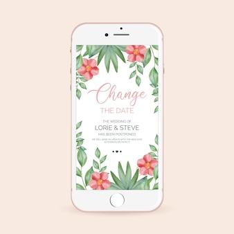 Annuncio di matrimonio posposto - formato dello schermo dello smartphone