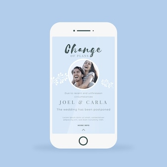 Annuncio di matrimonio posposto per il formato del telefono cellulare