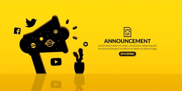 Annuncio di megafono, marketing digitale e concetto di pubblicità sociale