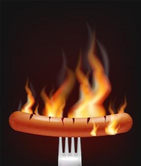 Annuncio di menu di salsiccia sul fuoco