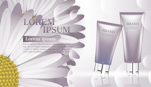 Annuncio di prodotto cosmetico, idratante per il viso