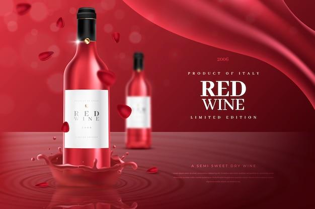 Annuncio di prodotto per bevande al vino rosso
