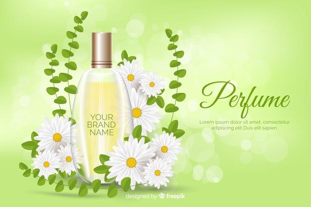Annuncio di profumo realistico con fiori