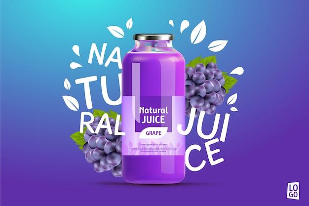 Annuncio di succo d'uva con sfumature e scritte