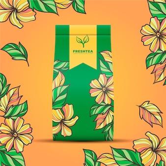 Annuncio di tè con decorazione di disegno