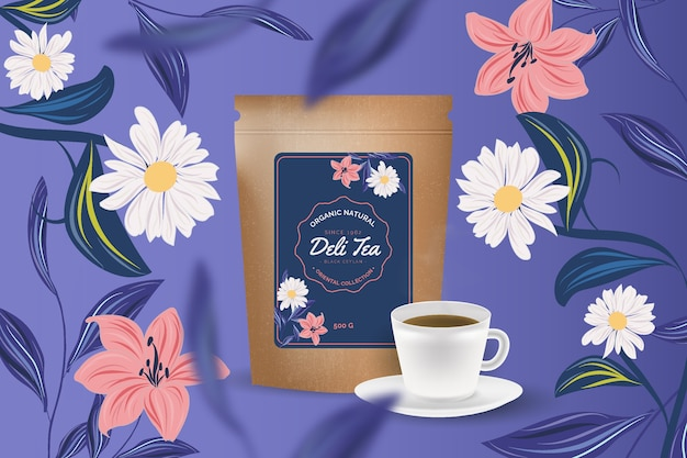 Annuncio di tè con decorazione disegno a mano