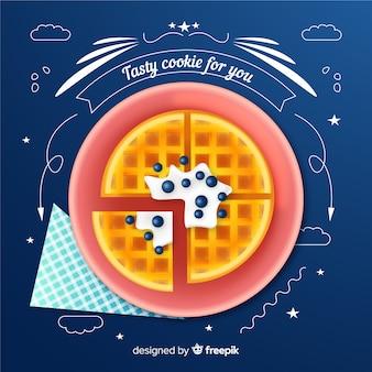 Annuncio realistico di biscotti con scarabocchi