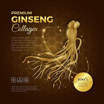 Annuncio realistico di collagene di ginseng premium