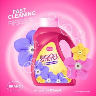 Annuncio realistico di detersivo per lavatrice