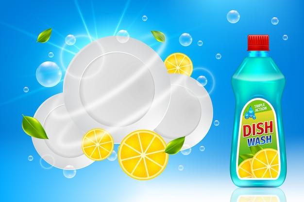 Annuncio realistico di prodotti per la pulizia