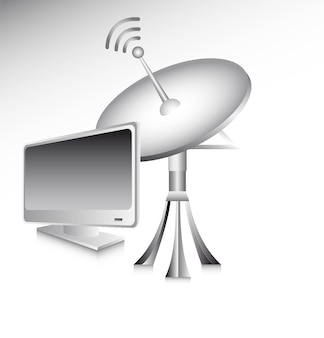 Antenna con il computer sopra l'illustrazione grigia di vettore del fondo