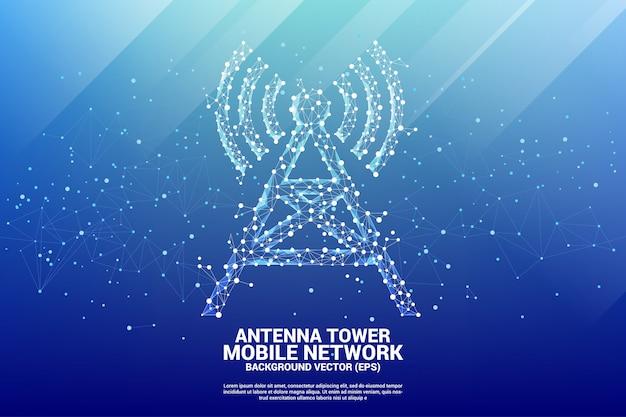 Antenna tower icon stile poligonale da punto e linea di connessione.