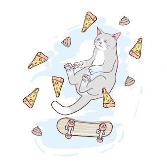Anti-gravitazione cat pizza e skateboard