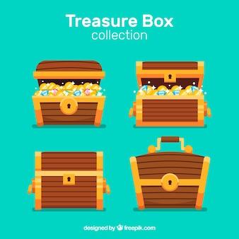 Antica collezione di scrigni del tesoro con design piatto