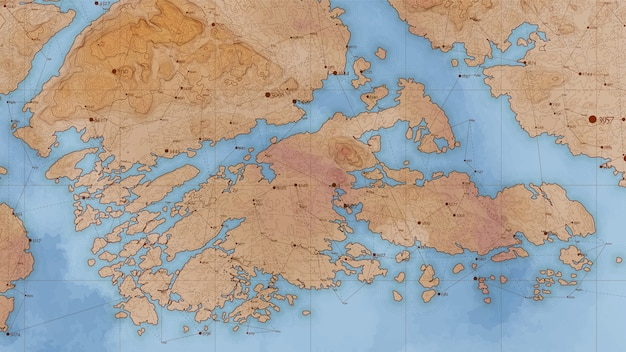 Antica mappa in rilievo di terra astratta con grandi quantità di dati e connessioni.