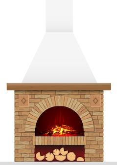Antico focolare in mattoni con il fuoco