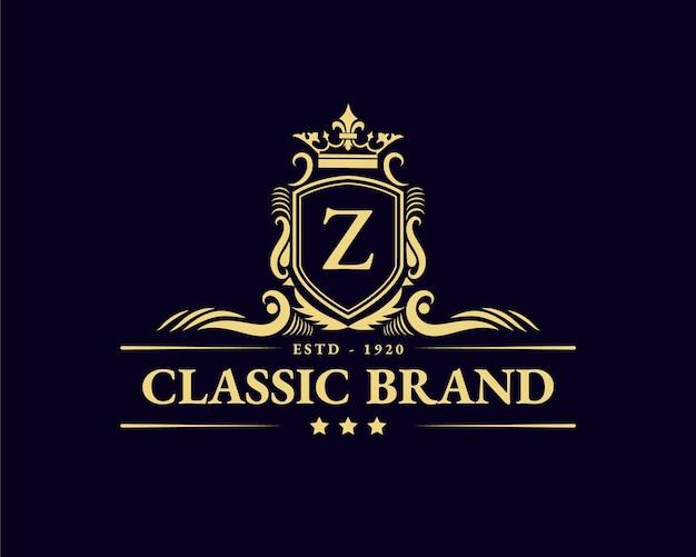 Antico retrò lusso vittoriano emblema calligrafico logo con cornice ornamentale adatto per barbiere vino artigianale birra negozio spa salone di bellezza boutique antico ristorante hotel resort classico marchio reale
