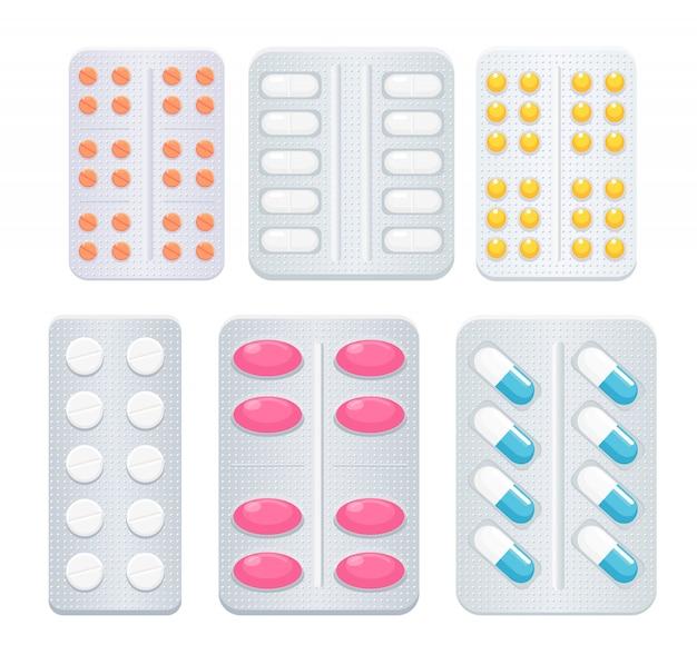 Antidolorifici medicinali diversi tipi e colori, farmaci antibiotici e raccolta di vitamine.