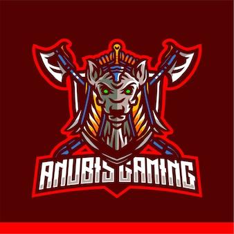 Anubis gaming e sport logo modello vettoriale