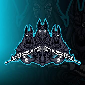 Anubis guardia esercito mascotte logo vettoriale