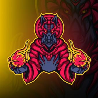 Anubis guerriero mago mascotte logo vettoriale