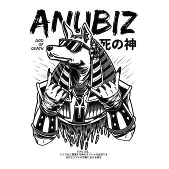 Anubiz illustrazione in bianco e nero
