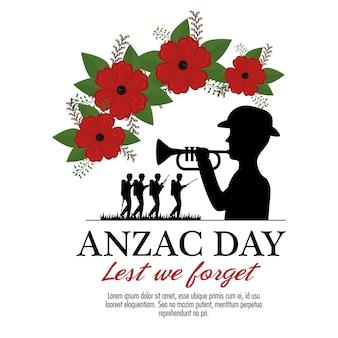 Anzac day background con soldati che soffia tromba